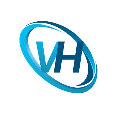 vector illustration of blue letters vh