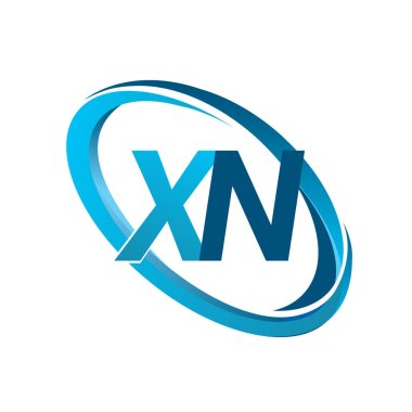 vector illustration of blue letters xn
