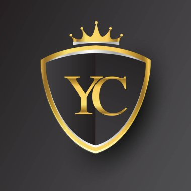 vector illustration of  golden letters yc