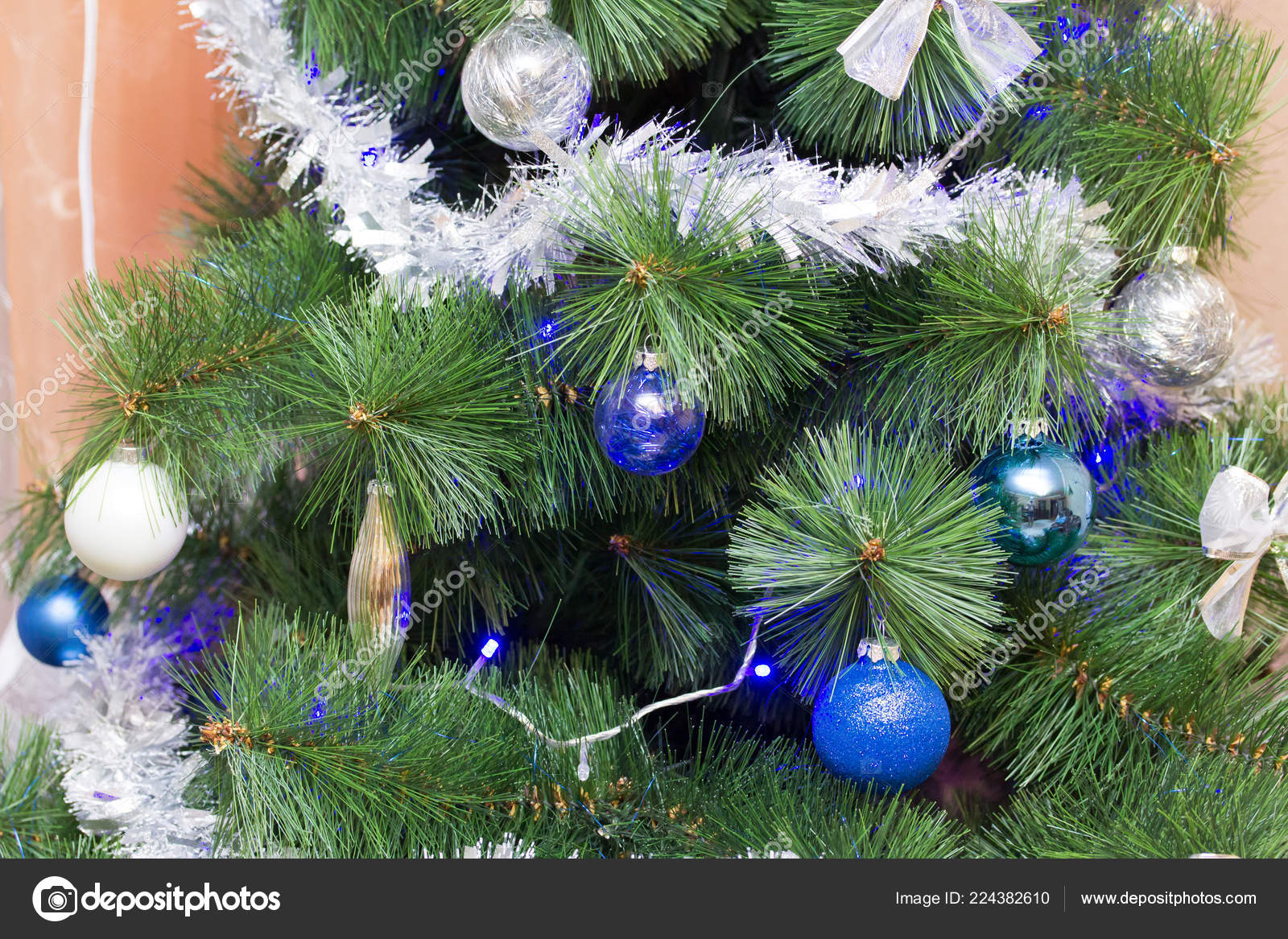 Christmas Tree Branches Decorated Two Color Style White Blue Stock Photo C Ruslankn 224382610