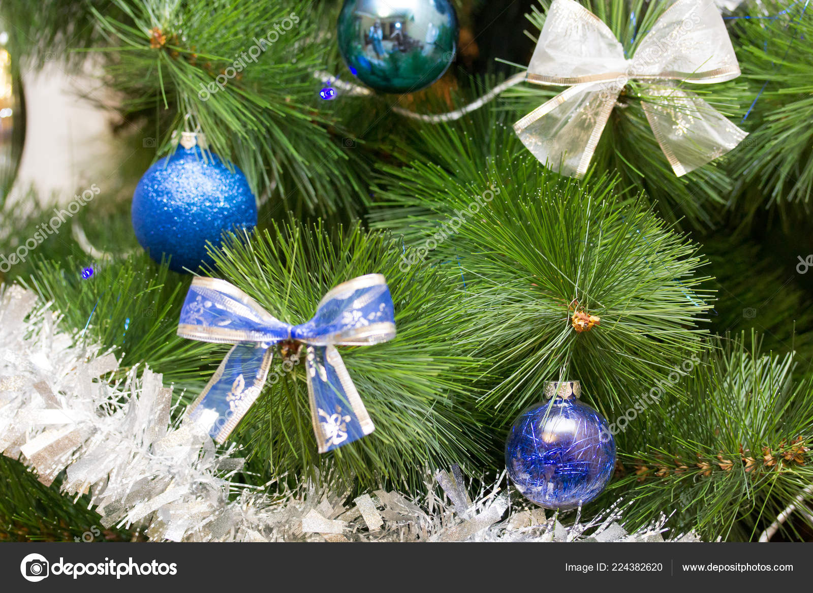 Christmas Tree Branch Bow Decorated Two Color Style White Blue Stock Photo C Ruslankn 224382620