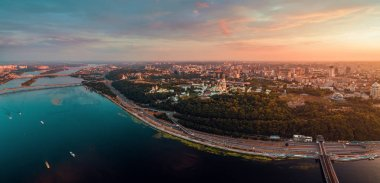 Panorama of the center of Kiev city at sunset. View of the Kiev-Pechersk Lavra