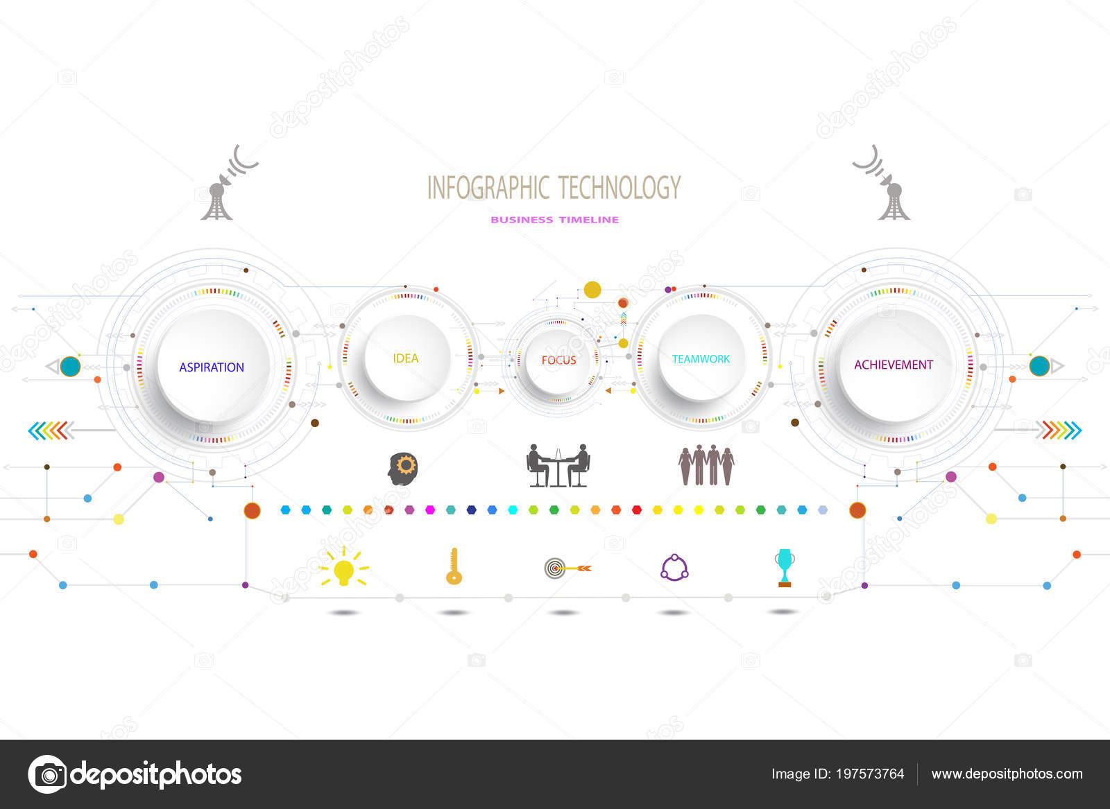 Infografik Vorlage Timeline Technologie Tech Engineering Und ...