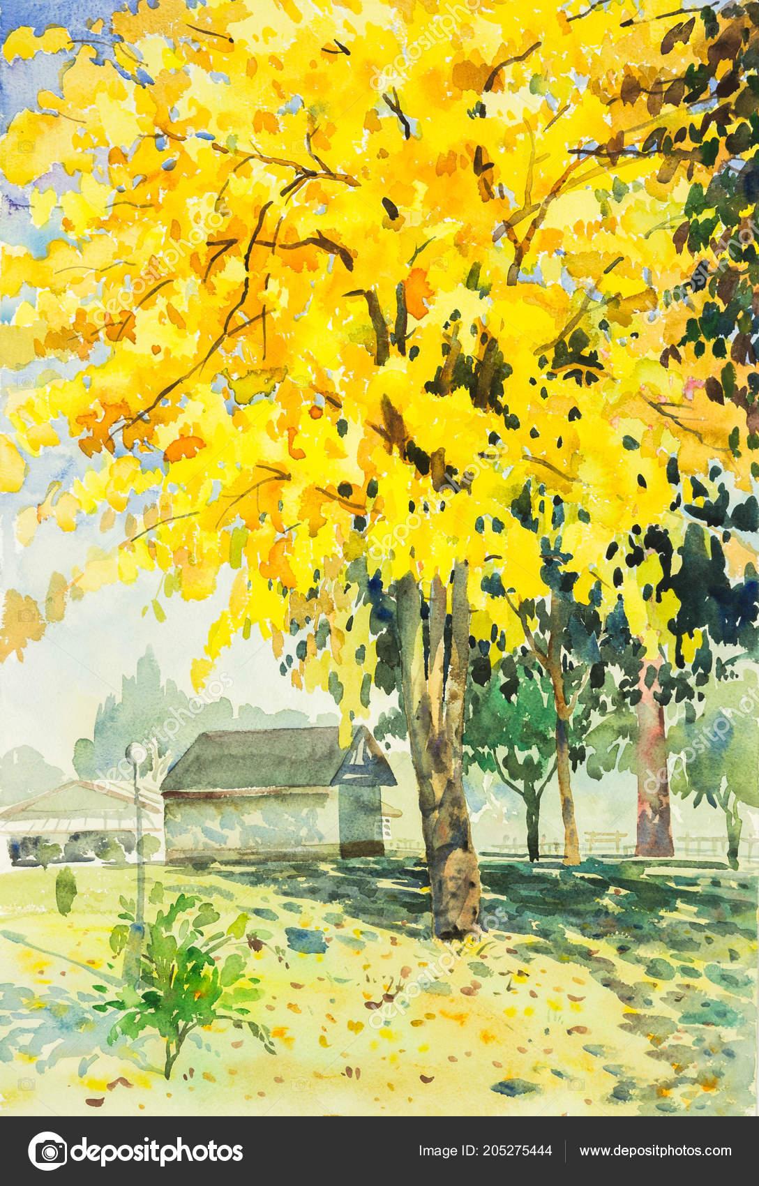 Watercolor Original Landscape Painting Yellow Orange Color Golden