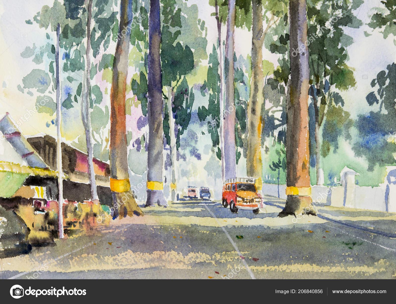 Klettergerüst Malen : Aquarell landschaft original malen bunte tunnel bäume und autos auf