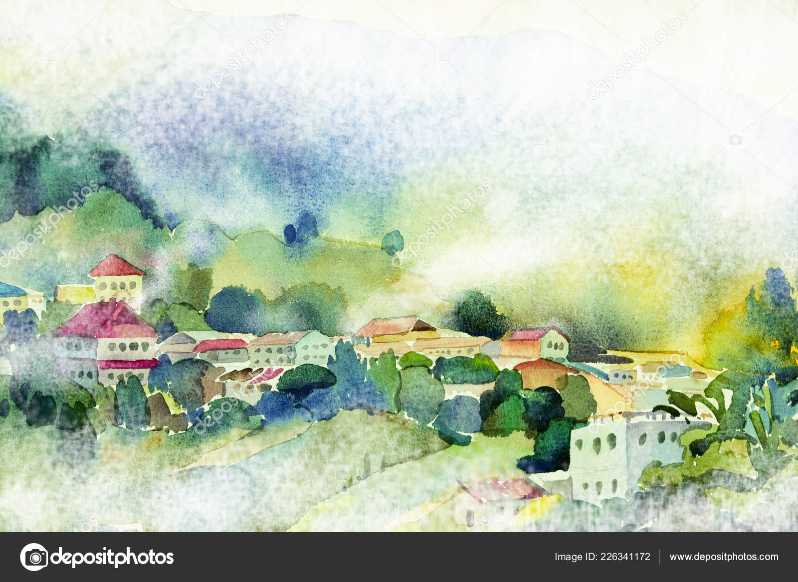 Abstract Mountain Paintings Abstract Watercolor Painting Landscape Paper Colorful Village View Hill Mountain Stock Photo C Paint Mm 226341172