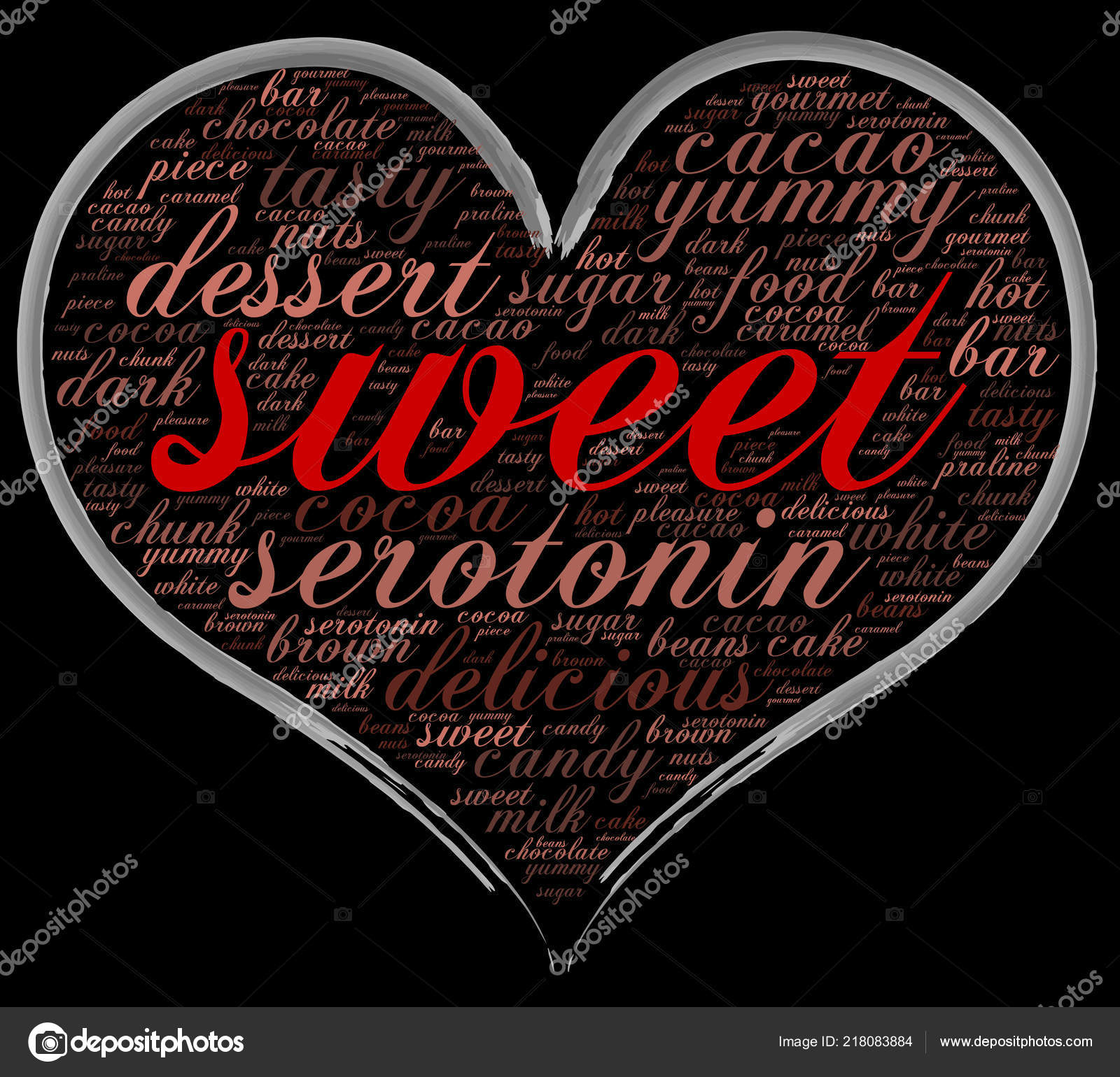Sweet Word Cloud Heart Shape Italics Font Black Background Gift