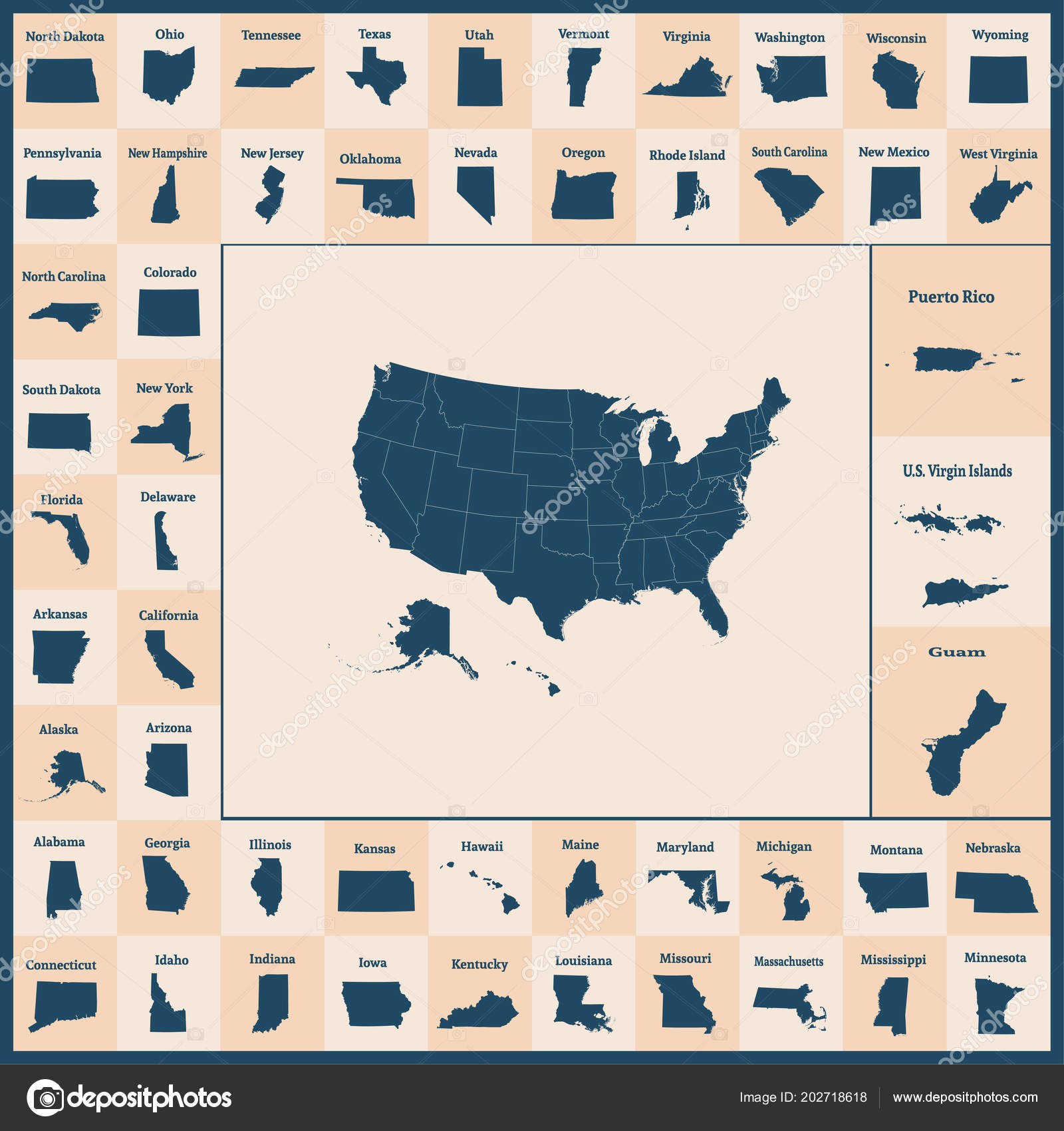 Outline Map United States America States Usa Map State Borders