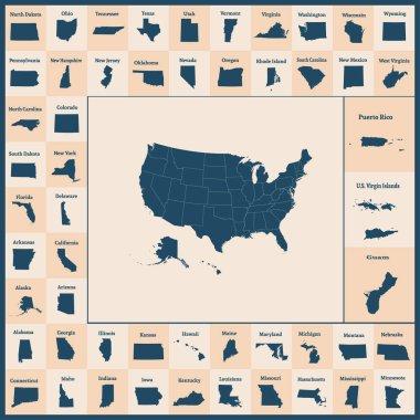 """Картина, постер, плакат, фотообои """"Общая карта Соединенных Штатов Америки. 50 штатов США. Карта с государственными границами. Силуэты США и Гуам, Пуэрто-Рико, Виргинские острова. Векторные иллюстрации. """", артикул 202718618"""