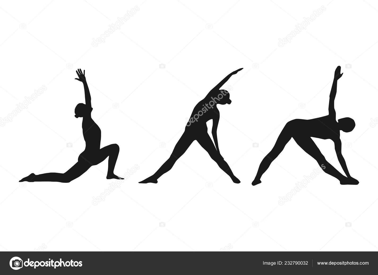 Female silhouette in yoga poses. Black white vector illustration. 32