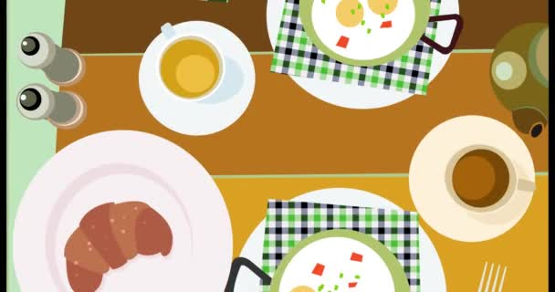 Horní pohled snídaně plochý animace s pohyblivými rozvinu klasická snídaně s nájmu: smažené vejce, káva, čaj, croissant, konvice, Solnička, Pepřenka.