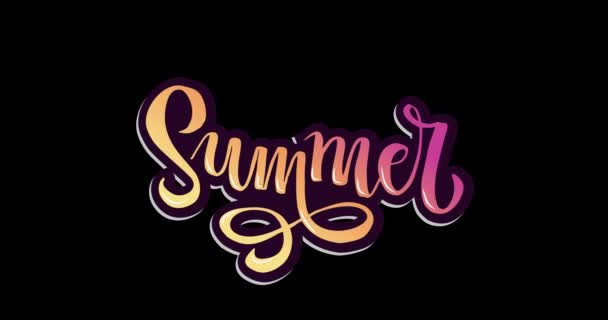 Top view flat animation words Summer sale special offer in lettering Gradient Handwritten modern calligraphy, brush painted letters. Inspirational text in motion graphic.
