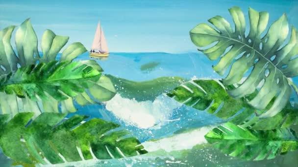 Pohled shora plochý animace akvarel houpající se palmový větve a listy na pozadí akvarel vln, moře a obloha s mraky a jachty. Motion design video