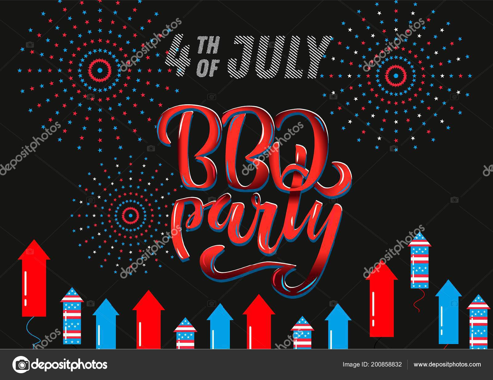 July 4th BBQ Party lettering invitation to American independence day ...