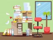 Zeit, in der Buchhalter und Finanziers Berichte vorlegen. Papierdokumente und Aktenordner stapeln sich in Kartons auf dem Bürotisch. flache Vektor-Illustrationsfenster, Stuhl und Papierkorb