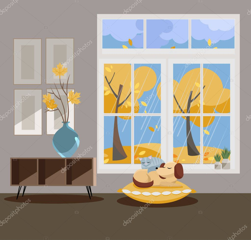 Window with a view of yellow trees and flying leaves. Autumn interior with sleeping cat and dog, vases, pictures on grey wallpaper. Rainy good weather outside. Flat cartoon style vector illustration.
