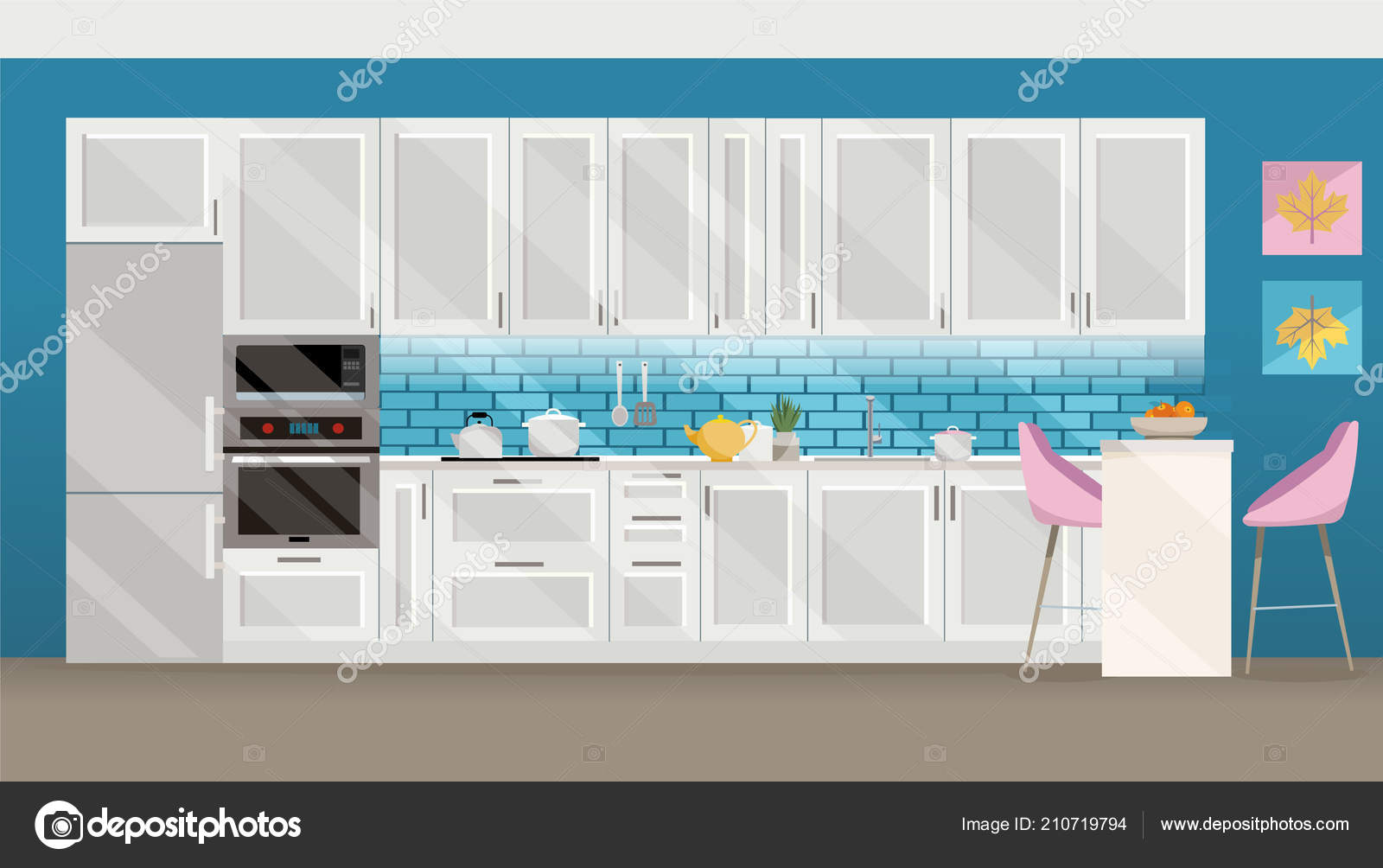 Flat modern interior kitchen room in turquoise tones. Kitchen ...