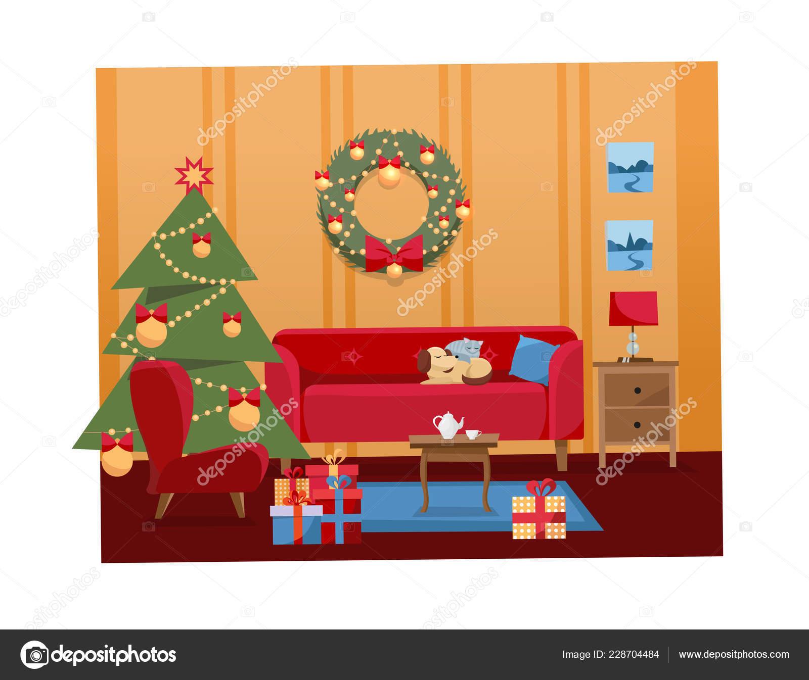 Illustration vectorielle plate dessin animé noël intérieure de salon décoré pour les fêtes intérieur de la maison chaleureuse cosy avec meubles canapé