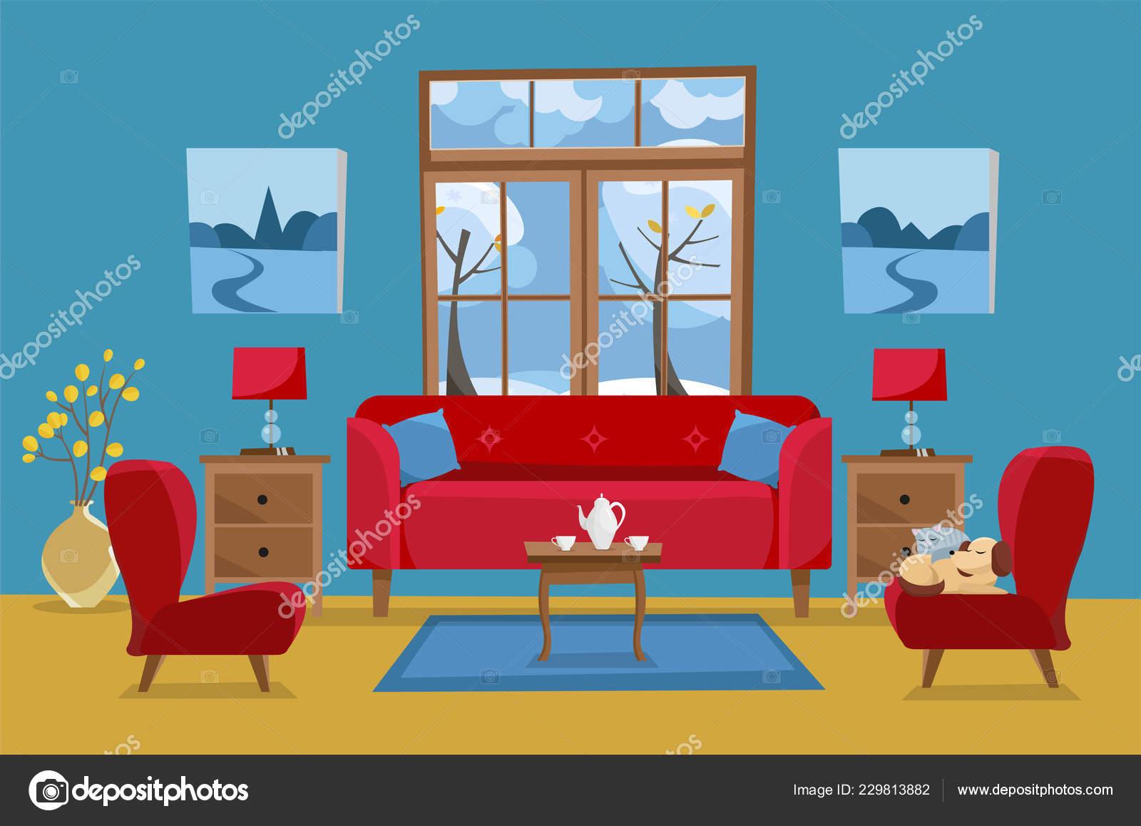 Wohnzimmer Gelb Rot Blau Farben Rotes Sofa Mit Tisch Nachttisch ...