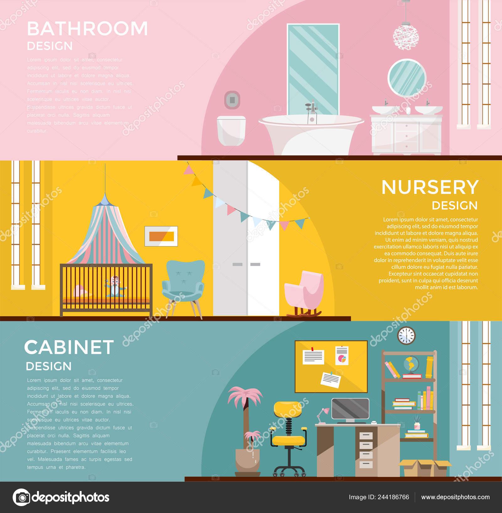 Conjunto de coloridas gráficas interiores: baño con cuarto ...