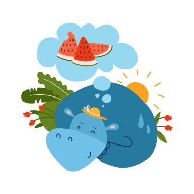 Hippo dreaming about watermelon, flat hand drawn vector illustration on white background