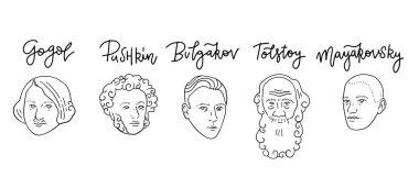 Portraits of famous Russian writers - Leo Tolstoy, , Nikolai Gogol, Alexander Pushkin, Vladimit Mayakovsky, Mikhail Bulgakov made in trendy linear style. Hand drawn Lettering