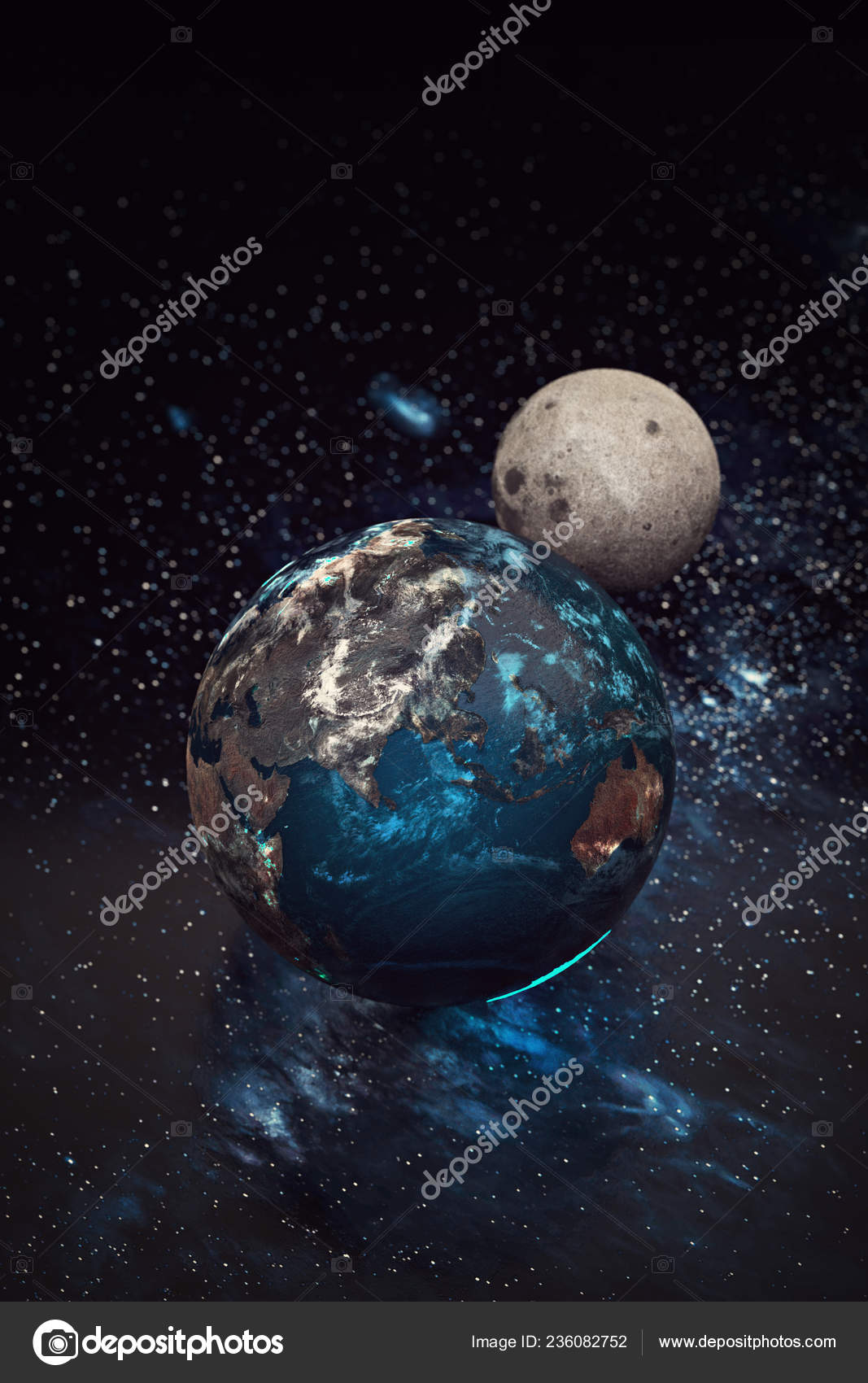 depositphotos 236082752 stock photo planet earth moon and
