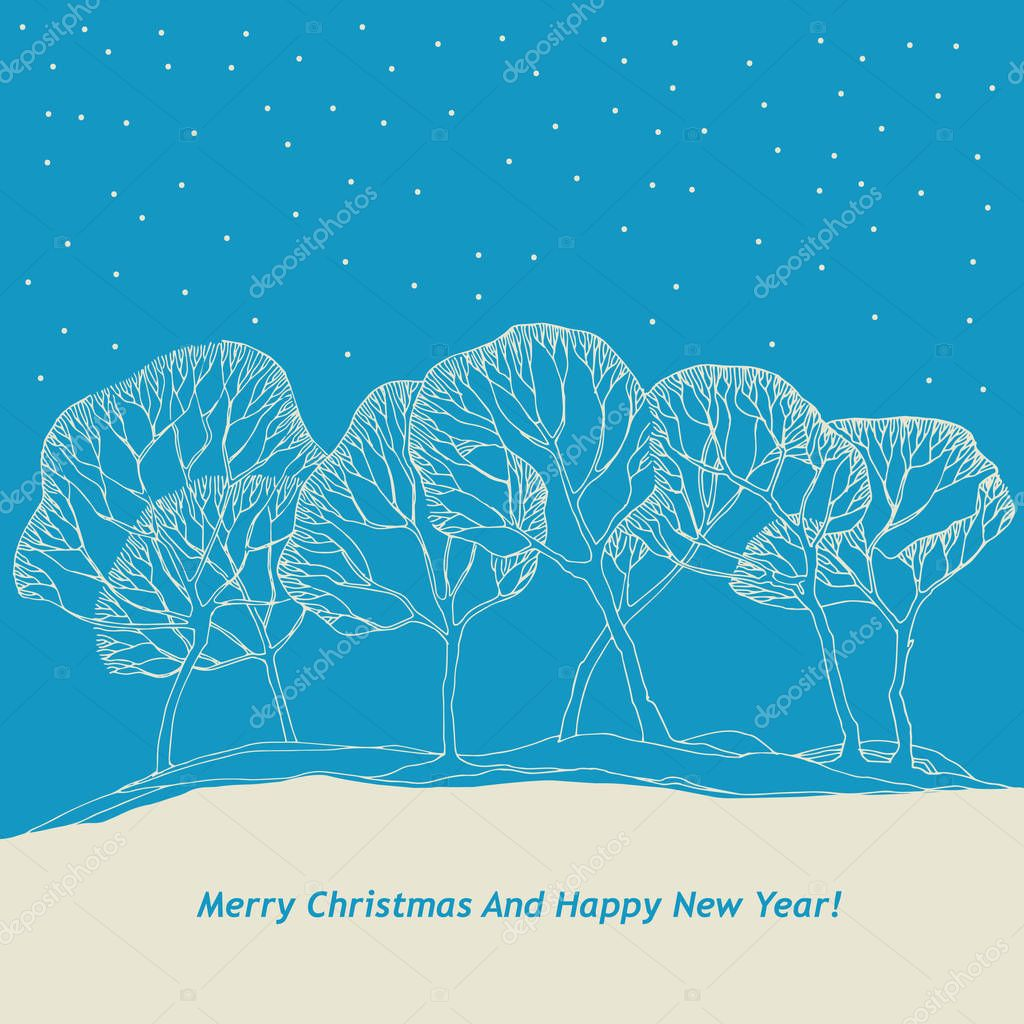 Christmas card with tree and winter background with snow and snowflakes.