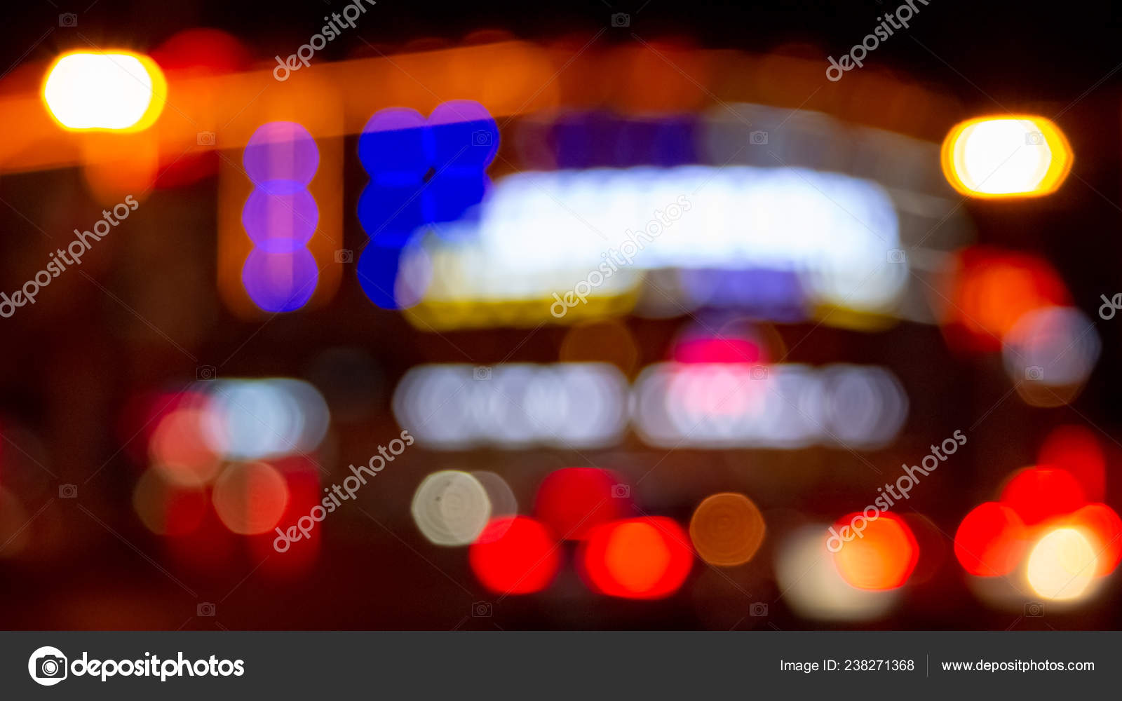 Urban Night Illumination Background Artificially Blurred