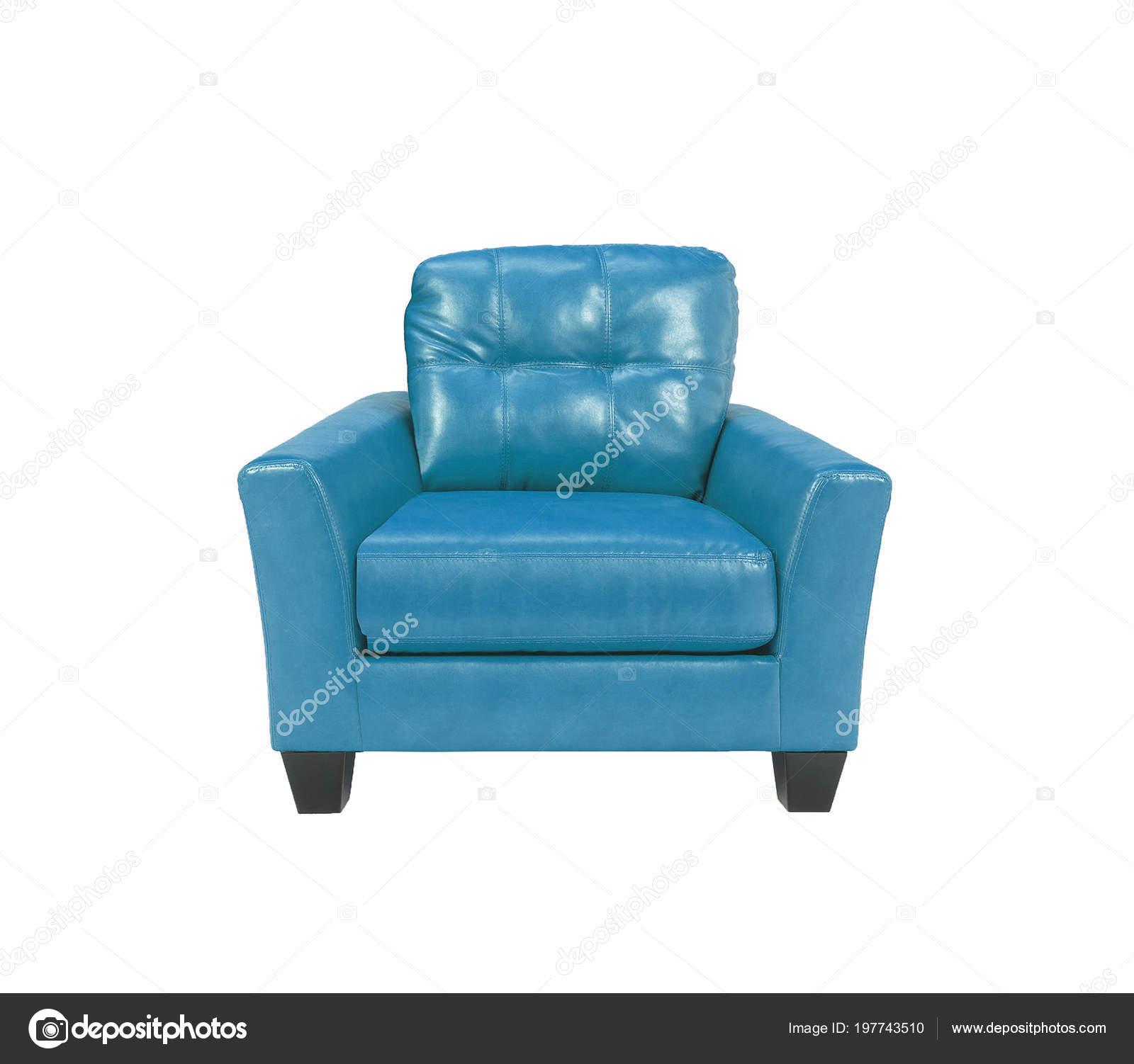 Blauw Leren Stoel.Blauw Leren Stoel Geisoleerd Witte Achtergrond Stockfoto