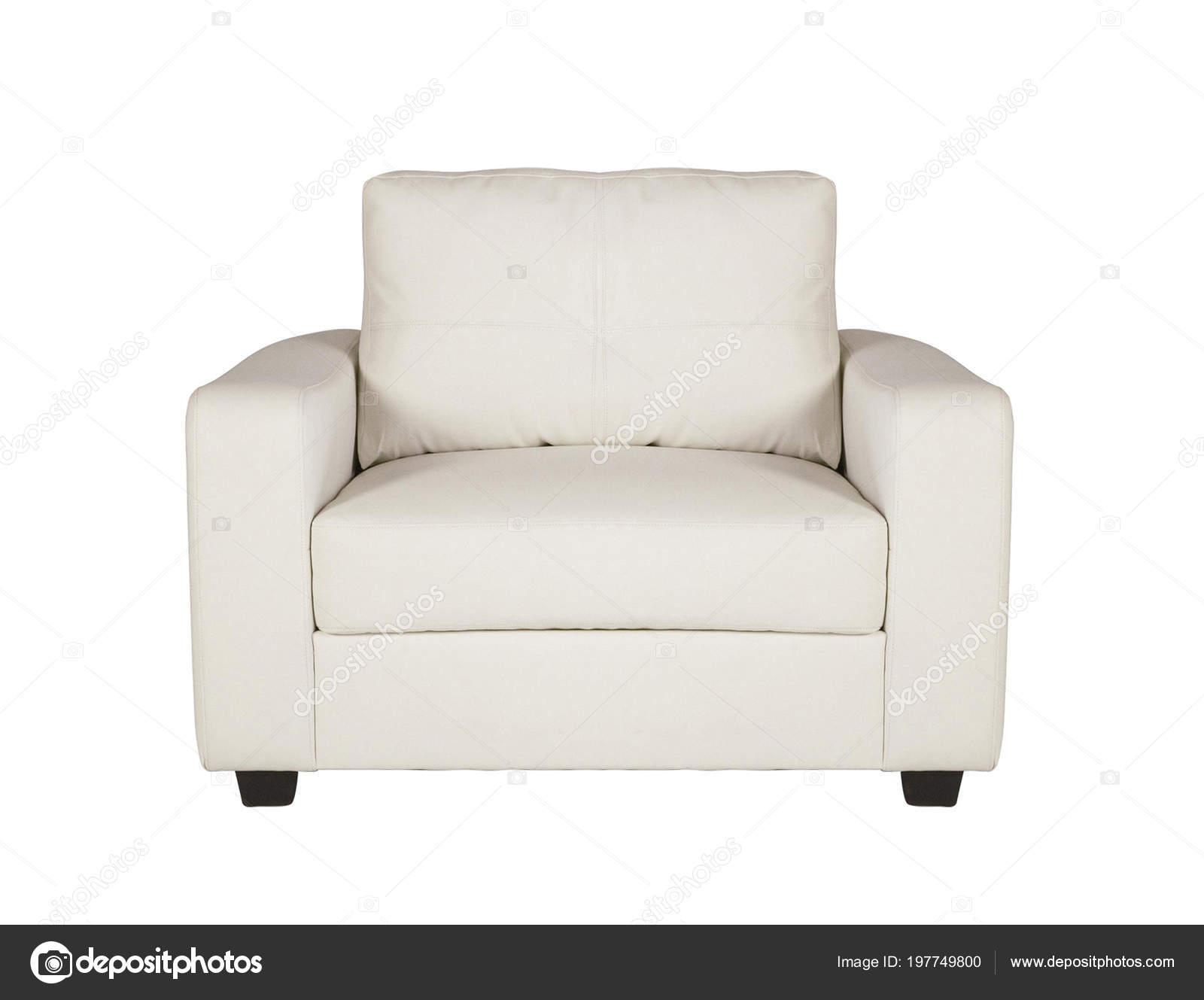 Een schot van studio van een witte lederen fauteuil geïsoleerd