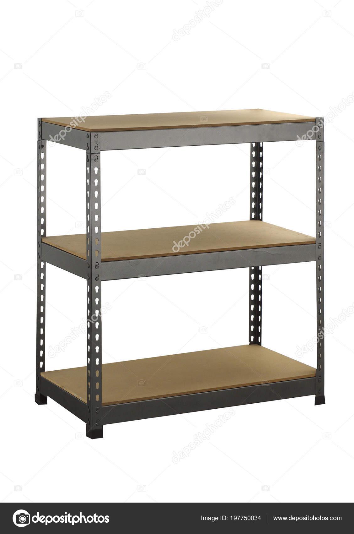 Metal Industrial Storage Shelves Isolated White Background U2014 Stock Photo