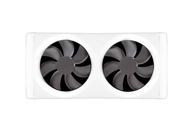 Two cooling fans in a dual-fan bracket isolated on white background