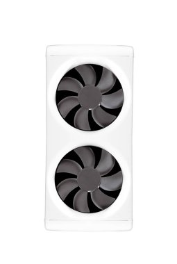 Two cooling fans in a dual-fan bracket isolated