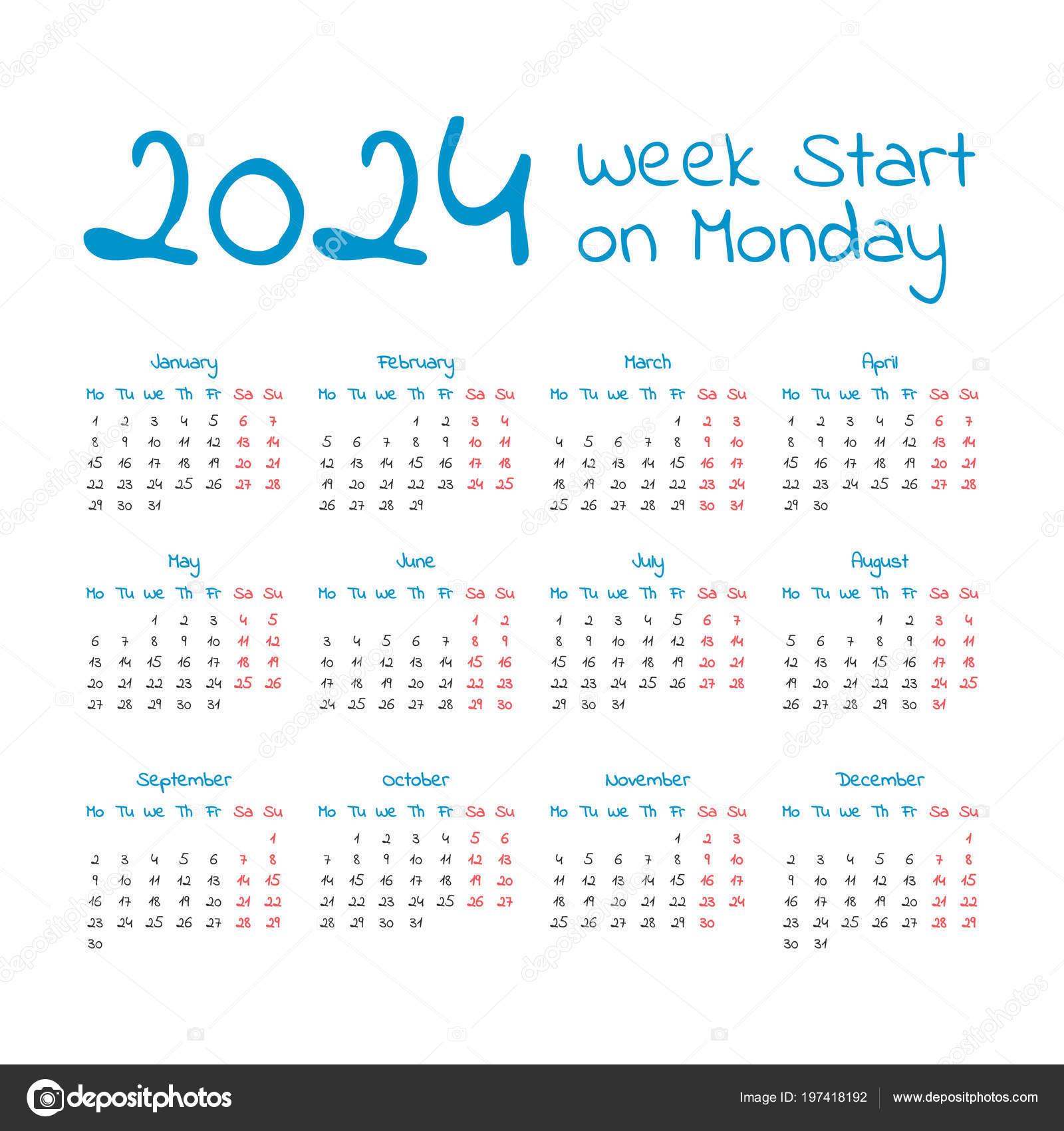 Календарь простой 2024 год, неделя начинается в понедельник — Вектор от ...