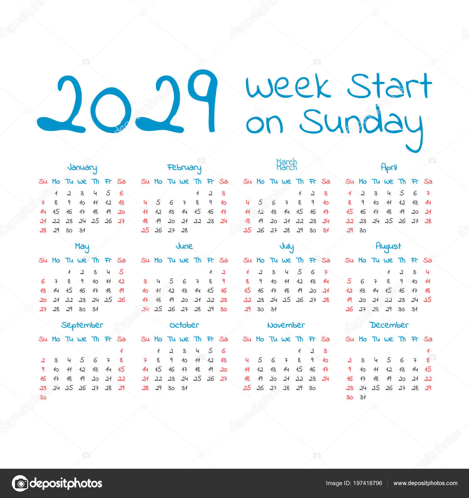 Календарь простой 2029 год, неделя начинается в воскресенье — Вектор от ...