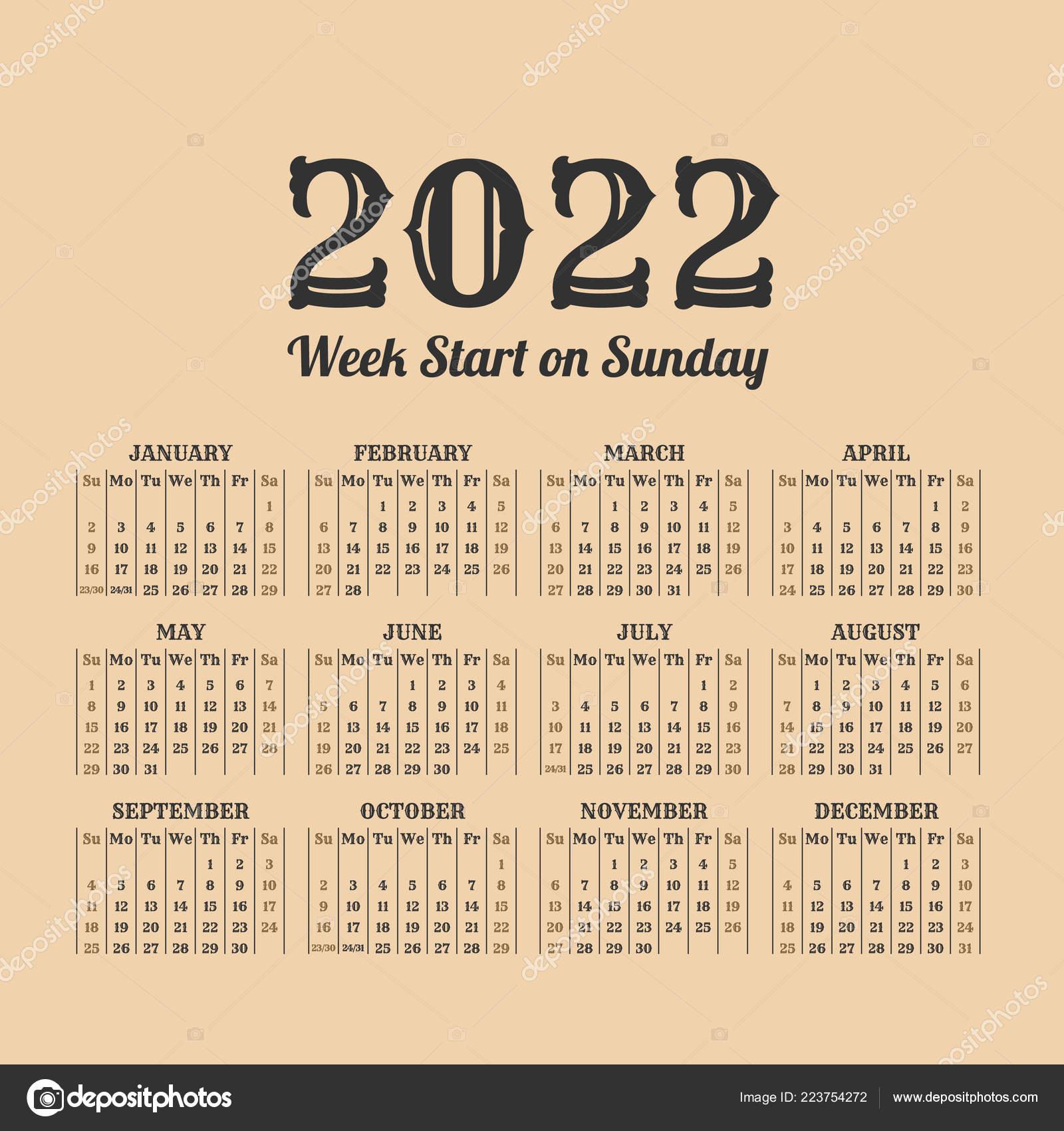 2022 Weeks Calendar.2022 Year Vintage Calendar Weeks Start On Sunday Vector Image By C 123sasha Vector Stock 223754272