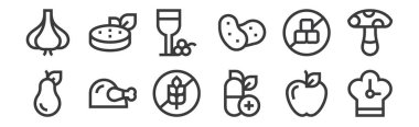 12 set of linear nutrition icons. thin outline icons such as clock, vitamin, chicken, no sugar, wine, vegan for web, mobile icon