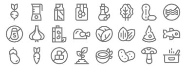 Nutrition line icons. linear set. quality vector line set such as pot, potato, plant, aubergine, cheese, soy milk, no meat, olive oil, juicer icon