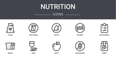 Nutrition concept line icons set. contains icons usable for web, logo, ui/ux such as soft drink, no meat, bread, apple, gluten free, honey, nutritionist, no fat icon