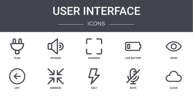 User interface concept line icons set. contains icons usable for web, logo, ui/ux such as speaker, low battery, left, bolt, mute, cloud, show, maximize icon