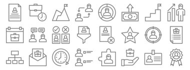 human resources line icons. linear set. quality vector line set such as reward, career, candidate, , client, decision, job promotion, graph, working hours