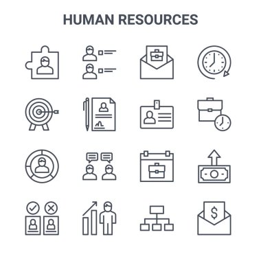 set of 16 human resources concept vector line icons. 64x64 thin stroke icons such as candidate, target, working hours, schedule, job promotion, salary, , id card, clock