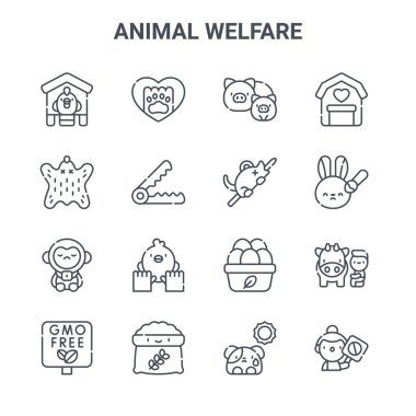 Set of 16 animal welfare concept vector line icons. 64x64 thin stroke icons such as paw, leather, animal testing, organic eggs, food, activist, dog, rat, farm icon