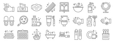 Hygiene routine line icons. linear set. quality vector line set such as cotton swabs, manicure, bathtub, towel, shaving razor, mouthwash, mirror, window cleaning, tissue box icon