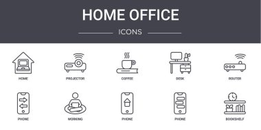 home office concept line icons set. contains icons usable for web, logo, ui/ux such as projector, desk, phone, phone, phone, bookshelf, router, coffee