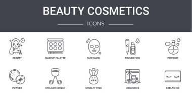 Beauty cosmetics concept line icons set. contains icons usable for web, logo, ui/ux such as makeup palette, foundation, powder, cruelty free, cosmetics, eyelashes, perfume, face mask icon