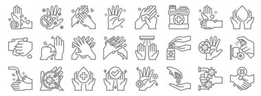 Wash hand line icons. linear set. quality vector line set such as handshake, hand sanitizer, hand, washing hands, washing hands, washing hands, palm, dont touch icon