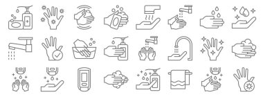 Wash hands line icons. linear set. quality vector line set such as hand, towels, hand washing, hand sanitizer, washing washing, dryer, icon