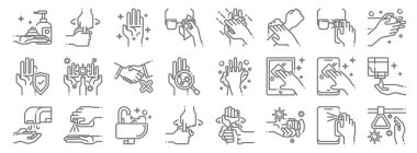 Wash hands icon pack line icons. linear set. quality vector line set such as , washing hand, hand dryer, smartphone, shaking hands, hand washing, icon